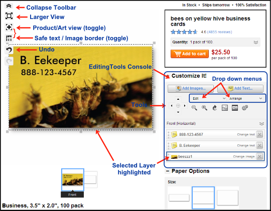zazzle customization screen layout